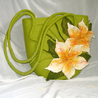 OOAK felted Bag Bright Summer Gren Yellow Summer by LanaDiNata
