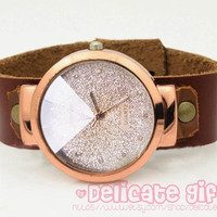 Silver Sparkle watch Glitter watch Leather  women watches Mother Daughter watches GIFT036