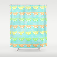 Citrus Smiles Stripes Shower Curtain by Lisa Argyropoulos | Society6