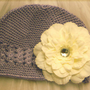 Small Lavender Beanie with Flower Hair Clip by MyFairyCouture