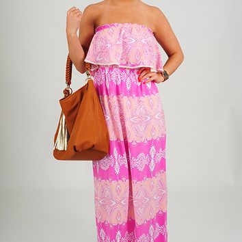 Pretty With Paisley Dress: Baby Pink/Fuchsia