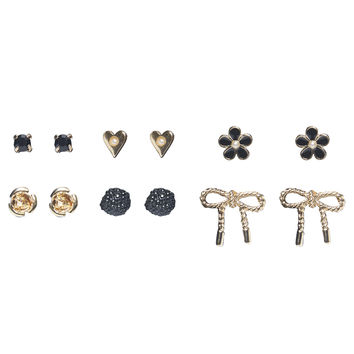 Bow & Flower Button Earring 6-Pack | Wet Seal