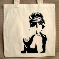 Audrey Hepburn Breakfast At Tiffanys Hand Printed by doodlebag
