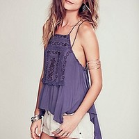 Free People Womens Embroidered Strappy Cross Back Tank -