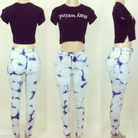 High Waisted Tie Dye Blues  Jean Pants Sizes S-M-L-XL