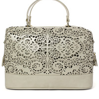 Chicwish Cut Out Satchel Bag in Ivory