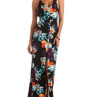 Plunging Backless Tropical Print Maxi Dress