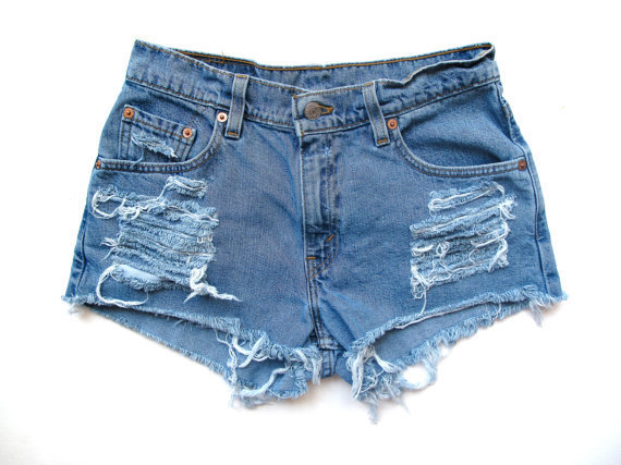 High Waist Shorts/Destroyed & Studded/Blue Denim by RomaniRose