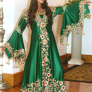 Arab Women Dress, Jalabiya Online for Women with Floral Work