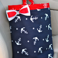 Car Trash Bag Navy & Red Anchors Sailor Teen, Girl, Women, Gifts Car Litter Bag, Auto Accessories, Car Organizer