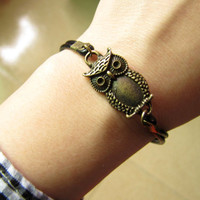 Two Black Leathers Adjustable Ancient Bronze owl by braceletcool