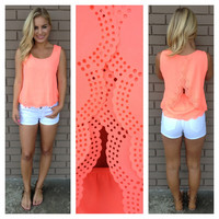 Neon Coral Scallop Cut Sleeveless Blouse
