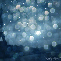 Paris Photography, Eiffel Tower Blue Sapphire Photograph, Paris Wall Decor, Paris Eiffel Tower Night Star Bokeh, Paris Starry Night Sky 8x12