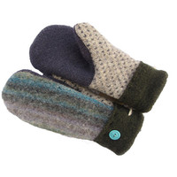 Recycled 100% Wool Sweater Mittens by SWEATY MITTS Upcycled Women's Gift Handmade in Wisconsin - Purple Blue Periwinkle Turquoise Navy