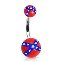 14g Rebel Flag Non Dangle Belly Button Ring Navel Body Jewelry Piercing with Surgical Steel Curved Barbell 14 Gauge