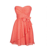 Polka Dot Bow Dress - Coral Multi
