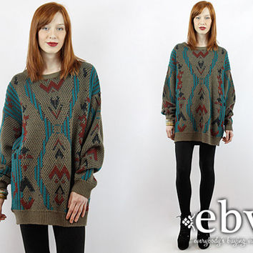Vintage 90s Oversized Southwestern Sweater 1X 2X Oversized Knit Oversized Sweater Plus Size Vintage Plus Size Sweater Oversized Jumper