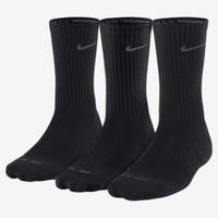 Nike Dri-FIT Half-Cushion Crew 3 Pair Training Socks - Black