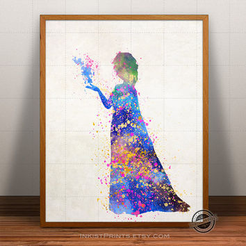 Frozen Print Watercolor, Elsa Poster, Disney Art, Illustration, Watercolour, Giclee Frozen Wall Art, Kid Artwork, Comic, Fine, Home Decor