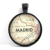 Madrid Spain Pendant from Vintage Map in by CarpeDiemHandmade