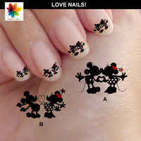 Valentine day, Mouse in love, Disney nail art, cartoon, nail art, mickey mouse, 60 Waterslide stickers Decal Nail, clear background,