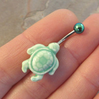 Mint Green Turtle Belly Button Ring Jewelry