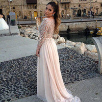 long sleeve prom dress Floor length Chiffon beading prom dresses evening dresses party dresses bridesmaid dress homecoming dress prom i