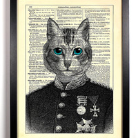Colonel Cat Upcycled Dictionary Art Vintage Book Print Recycled Vintage Dictionary Page Buy 2 Get 1 FREE