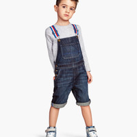 H&M - Bib Overall Shorts - Denim blue - Kids