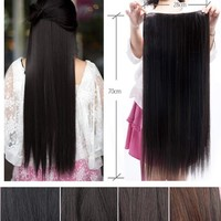 Uniwigs Fashionable 70cm Straight Full Head Clip in Hair Extensions Light Brown Tbe0029