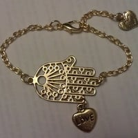 Gold Hamsa and Heart Bracelet  Hand of by allthingswildandfree