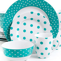 Isaac Mizrahi Polka Dot Teal 16-Piece Set