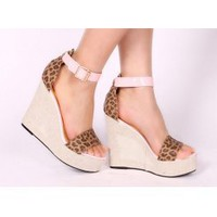 Wholesale Lovely leopard thick bottom sexy line-styled buckles sandals XD-LG699-17 leopard-grain - Lovely Fashion