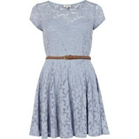 light blue lace belted skater dress - skater dresses - dresses - women - River Island