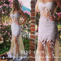 Custom Made Lace Wedding Dresses,Sexy Lace Prom Dresses,Lace Prom Dress 2014 ,Lace Bridal Gown,Beach Wedding Gown