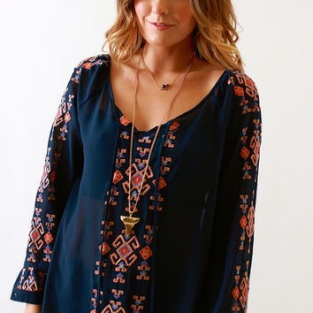 Blu Pepper, Navy Embroidered Blouse