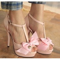 Wholesale Sweet elegant lady bowknot tip binding thin heel sandals SY-C0570 pink - Lovely Fashion