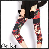 Digital Printing Slim body line stretch thin Leggings 710 - A09277 cottonfine silk Urban graffiti Cropped tight pants | ArtkaFashion - Clothing on ArtFire