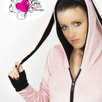 BUNNY EARS pink velour HOODIE custom size | erosdiy - Clothing on ArtFire