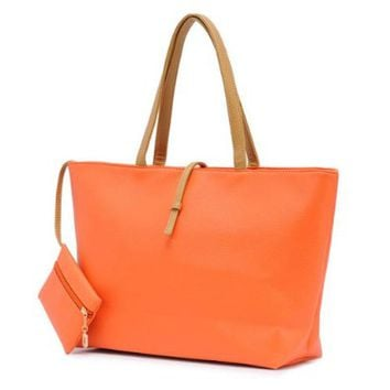 Simple Solid Color Batwing Tote Bag Handbag with a Change Purse