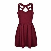 CUT OUT SKATER DRESS - Ally Fashion
