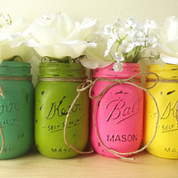 Four Hand Painted Mason Jars, Fun and Bright, Rustic - Style Mason Jars