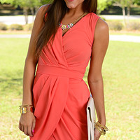 Pleated Tulip Dress,Coral