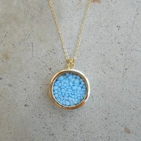 Blue Stone Shaker Necklace [5445] - $14.00 : Vintage Inspired Clothing & Affordable Dresses, deloom | Modern. Vintage. Crafted.