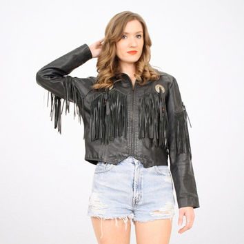 Vintage Black Leather Jacket Fringe Leather Jacket Cropped Jacket Crop Jacket Boho Hippie Southwestern Navajo Metal Concho XS S Extra Small