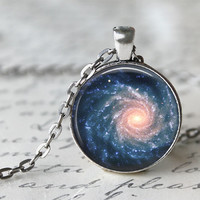Galaxy Necklace,  Galaxy Print Necklace, Planetarium Necklace