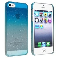 EVERMARKET(TM) Clear Sky Blue Waterdrop Raindrop Hard Case Compatible with Apple iPhone 5 5S