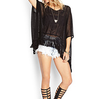 Embroidered Fringe Poncho