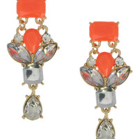 Neon Orange Crystal Earrings