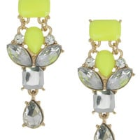 Neon Yellow Crystal Earrings